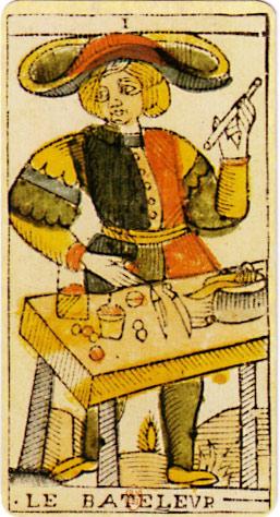En av de första tarotkorten föreställande en magiker. 1400-tal