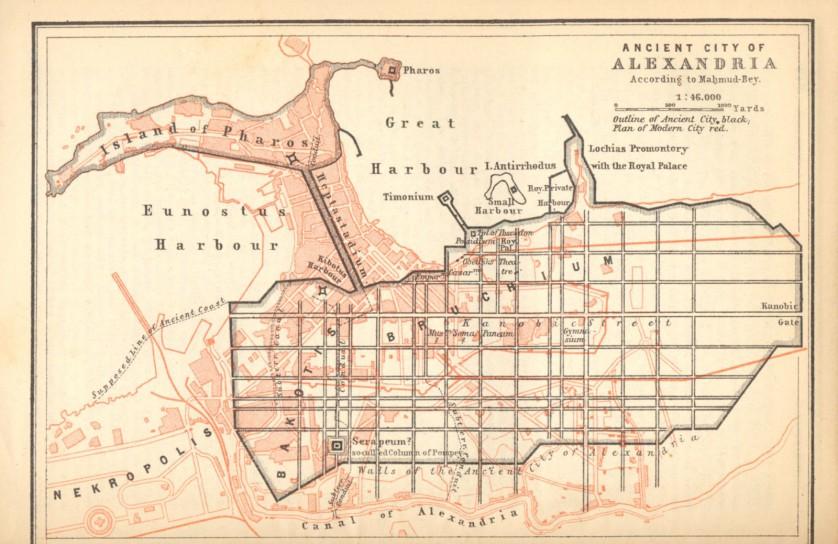 Karta över Alexandriga 44 f.kr