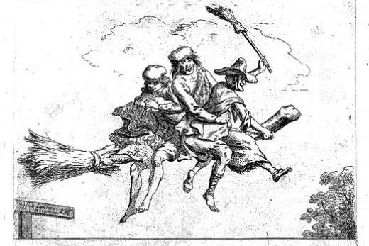 Tre magiker flyger på en kvast