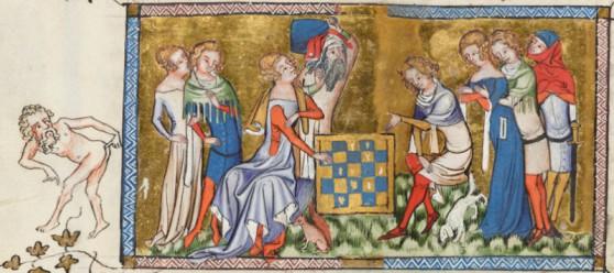 Medeltida bild på fusk i schack