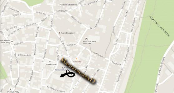 Karta över Visby som pekar ut S:a Karin