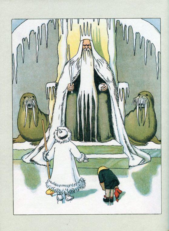 Kung Bore på sin tron, från Boken Olles Skidfärd, av Elsa Beskow