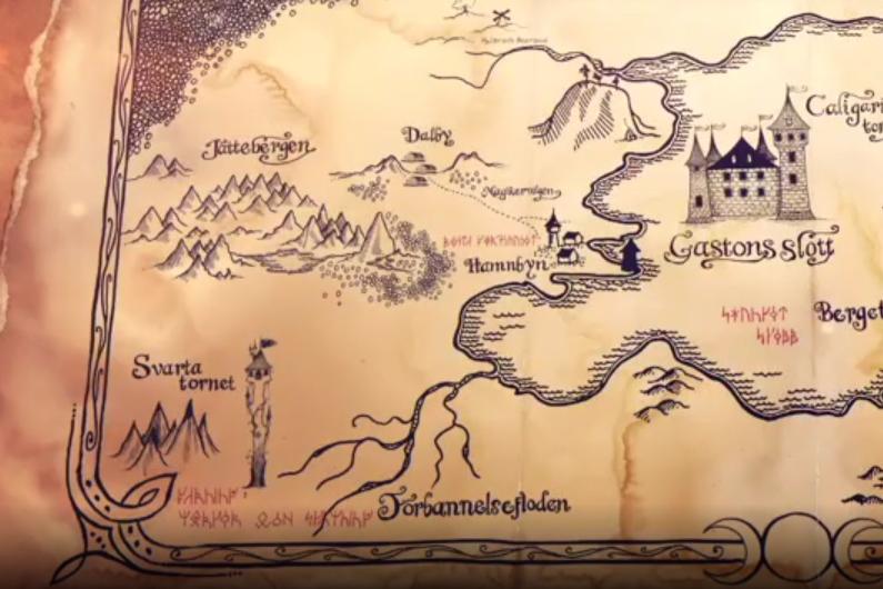 Kartan över Mysteria där Svarta Tornet syns
